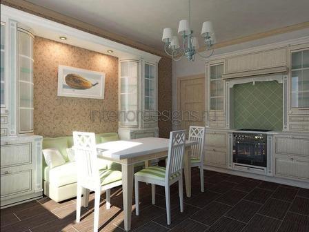 домашний интерьер кухни с диваном