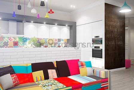 красочный диван в стиле модерн