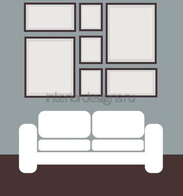 схема группировки фото над диваном