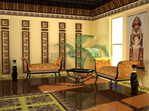 Египетский стиль в интерьере гостиной