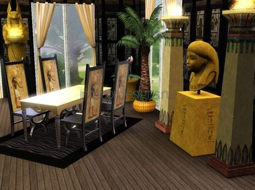 Египетский стиль в интерьере столовой