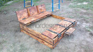 деревянная закрытая песочница