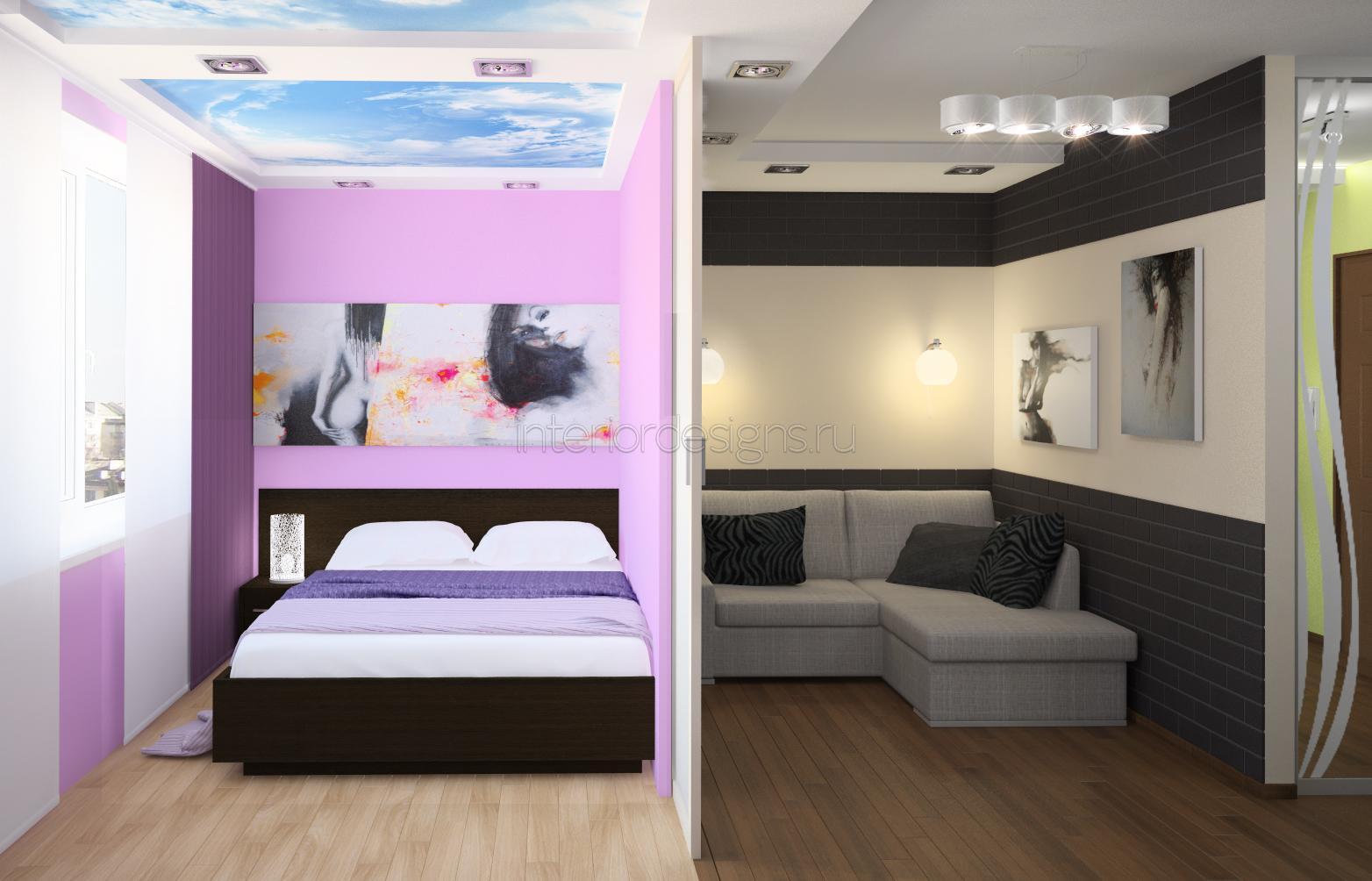 Дизайн однокомнатной квартиры с ребенком - примеры интерьера 38