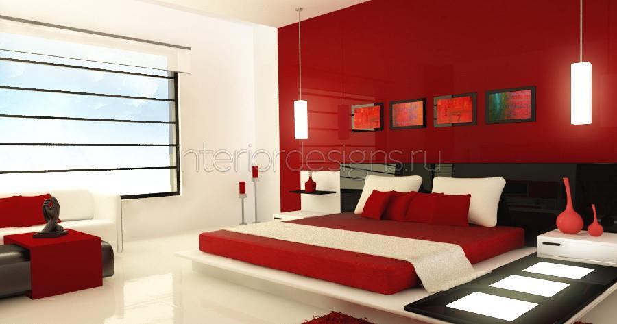 Спальня дизайн в красном цвете фото