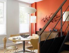 выбор цвета для акцентированной стены в столовой