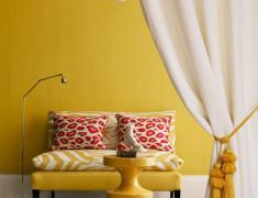 дизайн желтой гостиной
