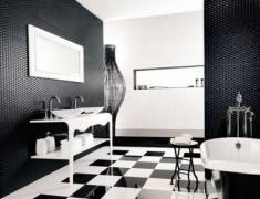черно-белый интерьер ванной комнаты