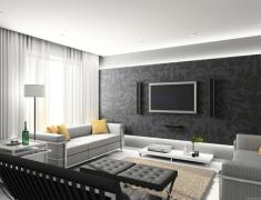 дизайн гостиной в сером цвете