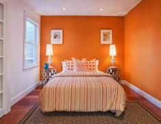 дизайн оранжевой спальни