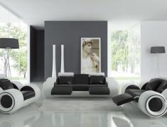 Интерьер гостиной в черно-белых тонах