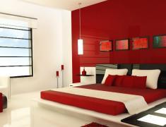 дизайн спальни в красном цвете